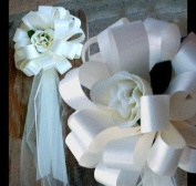 Ivory Wedding Pull Bows with Tulle Tails and Roses - 20cm Wide, Set of 6