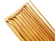 Kleanco Home it - Bamboo Crochet Hooks Pack of 12 Pcs Mix Size 3mm - 10mm Smooth Carbonised