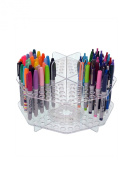 Marketing Holders Rotating Clear 120 Slot Table Top Counter Top Pen / Sharpie / Paint Brushes / Makeup Brushes / Lip Liner / Eye Liner Holder Display