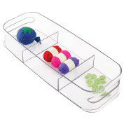 mDesign Craft & Sewing Bin - Divided, Clear