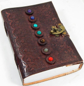 Barner Books 6 X 9 Embossed Tri-fold Leather Journal with 7 Stones and Handmade Paper