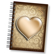 Sketchbook for Drawing and Mixed Media 13cm x 18cm , Heart of Gold - Blank Spiral Bound Artist Drawing Pad/Sketch Journal
