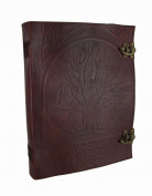 Large Embossed Leather Tree of Life Journal w/Double Swing Clasps