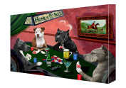 House of Pit Bull Dogs Playing Poker Canvas 11 x 14