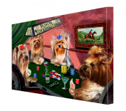 House of Yorkshire Terriers Dogs Playing Poker Canvas 16 x 20