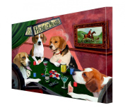 House of Beagles Dogs Playing Poker Canvas 11 x 14