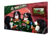 House of Bernese Mountain Dogs Playing Poker Canvas 11 x 14