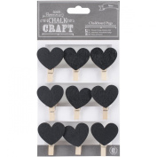 Chalk Craft Chalkboard Pegs 9/Pkg-Hearts