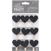 Chalk Craft Chalkboard Pegs 9/Pkg-Hearts