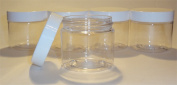 24 Clear Plastic 60ml Jars with Smooth White Lids