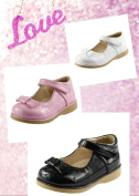 Classic Cute Girl's Dress School Shoes 3 Glossy Colours with Bow Toddler Size
