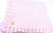 Knitted Crochet Finished Pink Cotton Baby Blanket with Gold Anchor Applique'