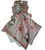 Blankets and Beyond Baby Girl Grey/Pink Elephant Owls Security Blanket Lovey