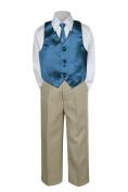 Leadertux 4pc Formal Baby Boys Green Teal Vest Necktie Set Khaki Pants Suits S-7