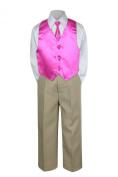Leadertux 4pc Formal Baby Toddler Boys Fuchsia Pink Vest Necktie Khaki Pants S-7 (S: