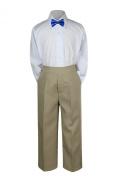 Leadertux 3pc Formal Baby Teen Boy Royal Blue Bow Tie Khaki Pants Sets Suits S-7 (L: