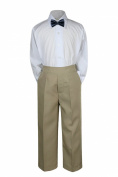 Leadertux 3pc Formal Baby Teen Boys Navy Blue Bow Tie Khaki Pants Sets Suits S-7