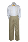Leadertux 3pc Formal Baby Teens Boys Mustard Bow Tie Khaki Pants Sets Suits S-7 (S: