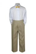 Leadertux 3pc Formal Baby Teens Boys Mustard Bow Tie Khaki Pants Sets Suits S-7 (S: