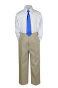 Leadertux 3pc Formal Baby Teens Boy Royal Blue Necktie Khaki Pants Set Suit S-14 (XL: