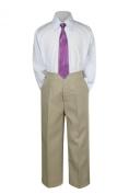 Leadertux 3pc Formal Baby Teen Boys Eggplant Necktie Khaki Pants Sets Suits S-14