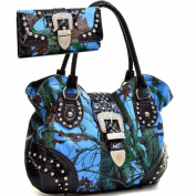 Western Camo Print Rhinestone Buckle Purse Handbag With Matching Wallet - Blue/Multi Colours