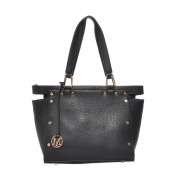Mechaly Women's Fanny Black Synthetic Leather Satchel Handbag