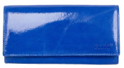 Women's Blue Glossy Foiled Genuine Leather Wallet Ellini