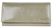 Women's Beige Glossy Foiled Genuine Leather Wallet Ellini