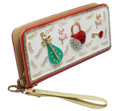 Mandolin and Heart Lock Bedazzled Pink Coloured Long Wallet
