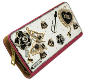 White and Pink Coloured Bedazzled Charm Long Zipper Wallet