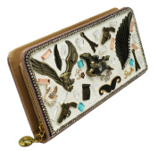 Soaring Eagle Assorted Charm Bedazzled Long Zipper Wallet
