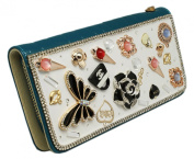 Lotus and Heart Charm Bedazzled White and Teal Coloured Wallet