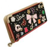 Bow and Butterfly Embezzled Pink Coloured Wallet