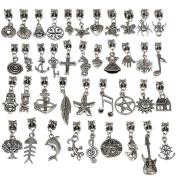 RUBYCA Tibetan Silver Colour Connectors Bails Beads with Pendant fit Charm Bracelet Mix Styles
