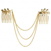HuntGold 1X Charming Punk Rock Chain Link Tassels Gold Metal Leaves Hairpin Hair Clasp