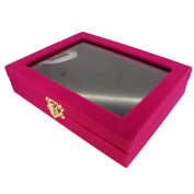 48 Slot Black Velvet Pad and Fuchsia Velvet Glass Top Lid Jewellery Display Box, for Rings and Cuffs, 20x15x4.5cm