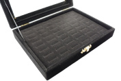 48 Slot Black Velvet Pad and Black Velvet Glass Top Lid Jewellery Display Box, for Rings and Cuffs, 20x15x4.5cm