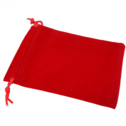 Pack of 50 Red Colour Soft Velvet Pouches w Drawstrings for Jewellery Gift Packaging, 9x12cm