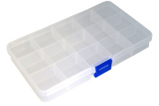 Jewerly Findings and Beads Storage Containers Clear Plastic Travel Protable Box, 15 Grids, 10cmx17.5cm