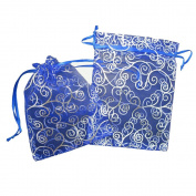 50 Organza Gift Bags (Blue with Silver Details) 18cm X 13cm