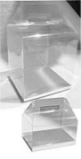24 PCS 4x4x4-1/2 Party Favour Handle Clear Boxes With Silver Card