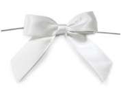 12 White 7.6cm Pre-tied Satin Bow & 13cm Twist Ties~ 2.2cm Ribbon Gift Bags Baskets Tie on Bows