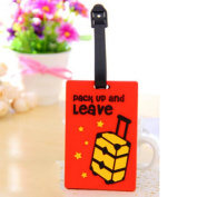 Cute Travel Luggage Tag Suitcase Baggage Bag Name Address ID Tag Holder Suitcase Red