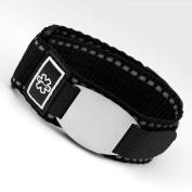 Black Medical Sport Strap & ID Tag Fits 5 1/2 - 20cm