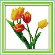 Benway Counted Cross Stitch Yellow Tulips With Green Leaves 14 count 33cm X 33cm