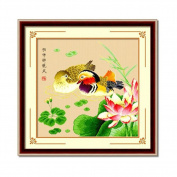 DOMEI Stamped Cross Stitch Kit, Mandarin duck Swimming in Lotus Pond, 49cm x 49cm