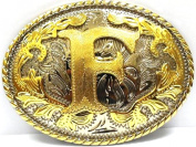 "Initial Letter ""Z"" Western Style Cowboy Rodeo Gold Oval Belt Buckles"