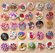 "Nicedeco Pack of 100pcs Designed Round Shaped Painted 2 Hole Wooden Buttons (Diameter 0.59""(15mm*15mm) Colour Random Shipments) Super Fantastic"
