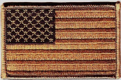 USA AMERICAN FLAG, DESERT TAN, Military,Biker,Shoulder/Iron On Embroidered Patch